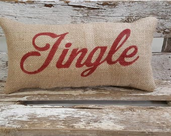 "Burlap Jingle Pillow 6"" x 13"" Stuffed Burlap Pillow Jingle Rustic Farmhouse Holiday Decor"