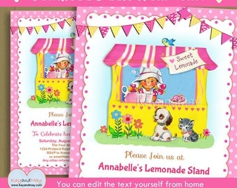 Lemonade invitation - Lemonade Stand birthday party printable invite - blonde girl kitten puppy INSTANT DOWNLOAD #P-124 - with editable text