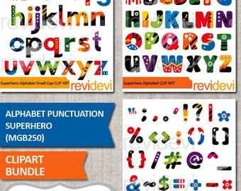 Superhero clipart / Alphabet punctuation superhero clip art bundle / commercial use graphic / Uppercase lowercase alphabet download