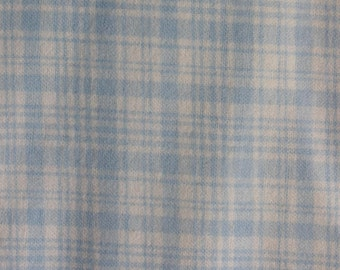 "Blue white plaid 100% Flannel cotton fabric   42""-44"" wide"
