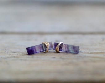 Fluorite Bar Studs ,  Gold Gemstone Boho Stud Earrings , Rose Gold or Sterling Silver , Fluorite Sticks , Minimalist Jewelry