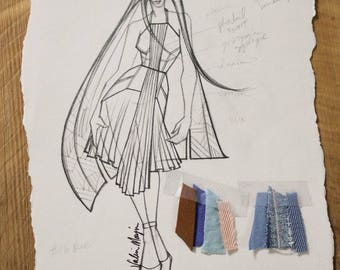 Original Fashion Sketch by Project Runway Designer Valerie Mayen, Home Decor, Wall Art, Girls Bedroom Wall art, Perfect for any room