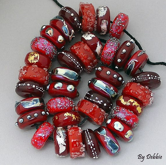 Glass Beads,Disc Beads,Red Beads,Lampwork Beads,Handmade Lampwork Beads,Beads For Jewelry,Jewelry Supplies,Debbie Sanders,Gifts For Her,Bead