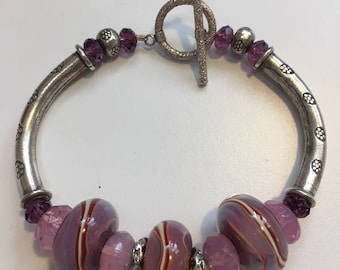 Lavender and Raspberry Lampwork Bead Bracelet