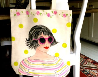 PAINTED CANVAS TOTE, hand painted tote, pink sunglasses tote, summer flower tote, rhinestone sunglasses, library book tote, grocery tote,