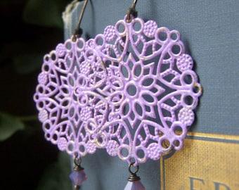Lavender Patina Filigree Earrings, Opalite Brass Hand Patina Earrings, Hand Painted Boho Earrings, Round Lacy Filigree Dangles