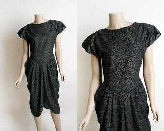 Vintage 1940s Style Dress - 1980s Black Midnight Draped Party Cocktail Dress - Sparkly Silver Metallic Shimmery Classic Look - Small Medium