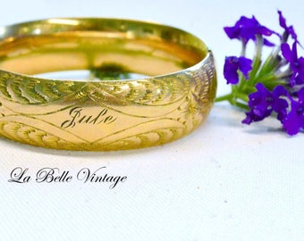 Antique Engraved Rose Gold Bangle S&BL Co Wide Etched Bracelet