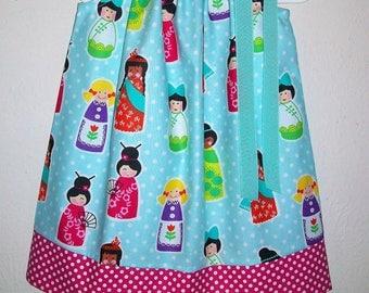 Its a Small World Dress Pillowcase Dress with Kids Around the World Aqua & Hot Pink Michael Miller Girls Dresses toddler dress Kids Clothes