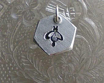 Handstamped Bee Charm - Hexagon Bee Charm -Manchester Bee -  Manchester Symbol - Solidarity