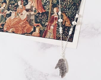 Hand amulet necklace in sterling silver and white freshwater pearls, hand necklace
