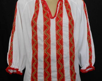 Vintage 70s Blouse, 1970s Embroidered Red Lace Inset Ethnic Boho Hippie White Cotton Blend Top, Size M Medium