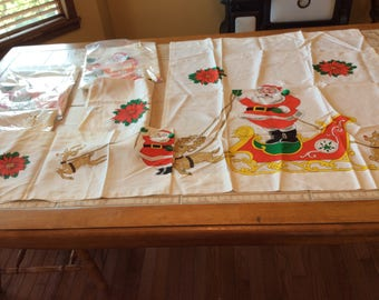 "Curtains Vintage Linen Value Bundle - Set of 4 Christmas Curtains 3 are NIP.  Tailored Tiers 60"" X 36"" Valance 58"" X 11"" - B103"