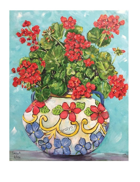 Geraniums in a Flower Pot Art Print | Red Geraniums ART PRINTS | Artist Carolyn Altman
