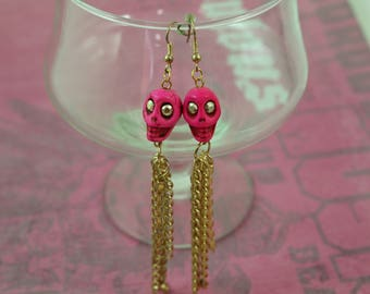 Haute Pink Skulls and Bling -  Glamour Stone Skulls and Dangly gold and rhinestone Earrings