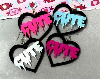 SUPER CUTE - Black Heart Hoop Earrings - You Choose  Color - White, Blue, Dark Pink, Hot Pink