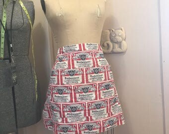 RARE Vintage BUDWEISER Anheuser Busch Beer logo 1960s 1970s St Louis KING of Beers all over print apron