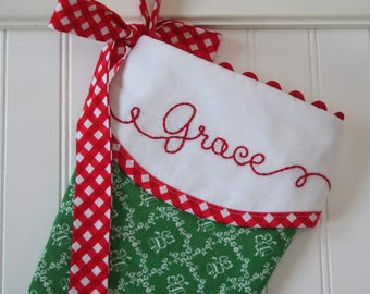 Christmas Stocking Personalized, Christmas Stocking Quilted, Green Christmas Bells, Hand Embroidered Stocking, Embroidered Stocking,