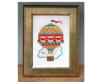Vintage Air Balloon Cross Stitch Pattern Instant Download