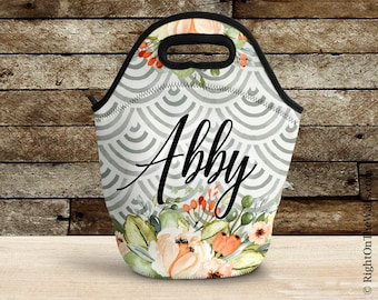 Personalized Lunch Bag for Women, Floral Lunch Box, Large Insulated Lunch Tote, Custom Gray Watercolor Flowers