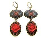 Bijoux en Tartan écossais - ancienne série Romance - Occasions spéciales Collection - Royal Stewart noir camée Rose boucles d'oreilles