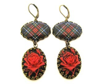 Scottish Tartan Jewelry - Ancient Romance Series - Special Occasions Collection - Royal Stewart Black Rose Cameo Earrings