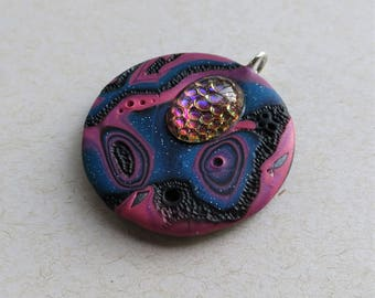 Mokume Gane Polymer Clay Pendant in Glittery Blue, Deep Rose and Black with Vitrail Snakeskin Cabochon, Handmade Jewelry Component