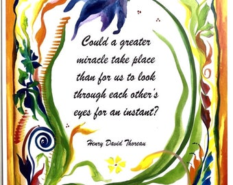 Could A Greater MIRACLE 8x11 THOREAU Inspirational Empathy Compassion Literary Quote Motivational Poster Heartful Art by Raphaella Vaisseau