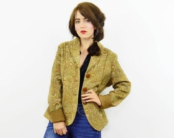 90s paisley tapestry jacket, vintage ladies blazer, boho jacket, tapestry jacket, ladies vintage jacket