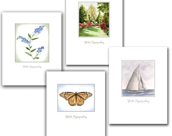 Sympathy cards 8 boxed set. watercolor sympathy card, sailboat, forget me not flower, monarch butterfly sympathy card, azalea garden,