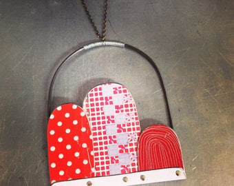Red Patterns Etched Arches--Upcycled Tin Necklace