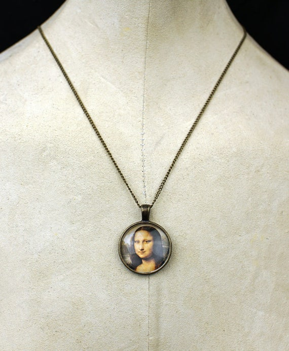 Custom Mona Lisa necklace pendant tattoo museum Leonardo art necklace punk boho chic