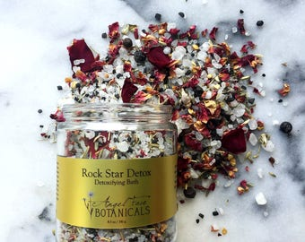 Rock Star Detox Detoxifying Bath w/ Activated Charocal + Black Hawaiian Salt, Herbal Detox, Bath Tea, Organic Bath Salts, Natural Bath Soak