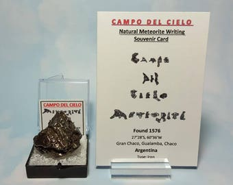 Rare METEORITE Campo Del Cielo Genuine 31.3 Gram Meteorite In Perky Mineral Specimen Box With Extraterrestrial Writing Card From Argentina