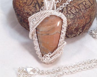 Woven wire wrapped, hand cut and polished, natural Prairie Agate pendant, necklace