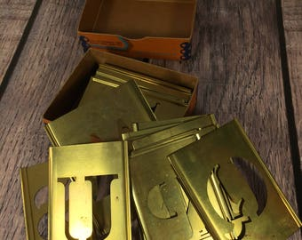 "Lot of 24 Brass Stencils - Letters and Numbers - 1 1/2"" Tall"