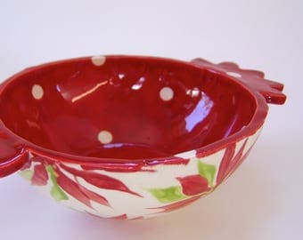 Poinsettia pottery Serving Dish, hand-painted floral print Christmas Bowl, whimsical Christmas, bright Red & white polka-dots