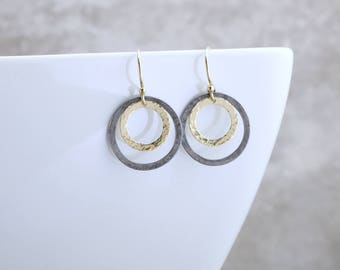 14k Gold Open Circle Earrings Black And Gold Earrings Solid Gold Circle Earrings Modern Jewelry Minimalist Earrings 14k Gold Circle Earrings