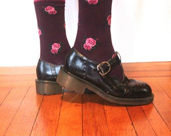 size 8.5, 1990s DOC MARTENS - vintage black leather T-Strap Mary Janes, made in ENGLAND,