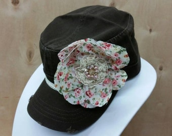 Ladies Cadet With Vintage Earring Embellishment and  Handmade Flower - Free Shipping