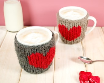 Valentines Mug and Knitted Cosy, Personalised Heart Mug, Valentines Day Gift, Mug Cozy, Wedding Gift, Coffee Lover, Gift for Her, Girlfriend