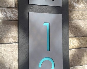 Modern HOUSE NUMBERS Mid Century Vertical Address Plaque