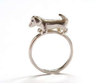 Sausage Dog Ring, Sterling Silver Dog Ring, Black Diamond Eyes, Dachshund Ring, Handmade in Brighton, UK