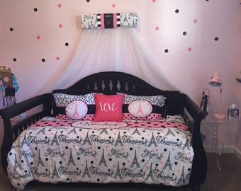 Bed Crown Canopy Personalized Paris DAMASK French Bonjour Black Hot pink FREE Embroidery Teester Pelmet SALE Upholstered Princess