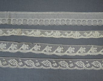 4 Antique Lace Trims from the early 1900s, Vintage Cotton Laces Lot, 1/2 to 1-1/2 inches wide