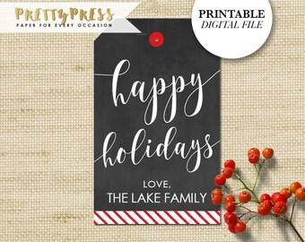 Printable Holiday Gift Tags, Chalkboard Personalized Christmas Gift Tags, DIY Printable Gift Tags