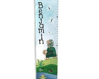 Cute Green Turtles Boys Nursery Great Outdoors Growth Chart Personalized Wall Art