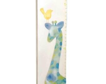 Blue, Green, Teal, Watercolor Giraffe Canvas Growth Chart Boys Nursery Personalized Wall Art