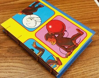 Curious George Journal Recycled Game Board Book Upcycled Board Game by PrairiePeasant