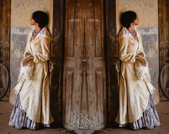 New! PRIESTESS VELVET COAT - Long Jacket Cape Goddess Faery Fairy Ceremony Wedding Bride Medieval Fantasy Halloween - Off white Cream